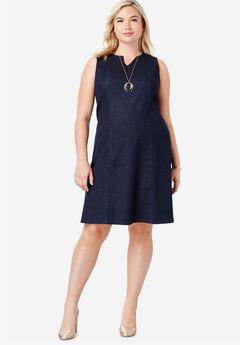 Refined Denim A-Line Dress, INDIGO