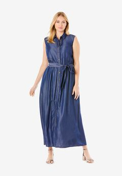 Denim Fit & Flare Maxi Dress,