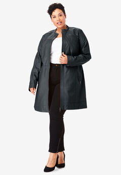 Long Leather Moto Jacket,