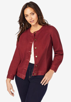Collarless Denim Jacket, RICH BURGUNDY