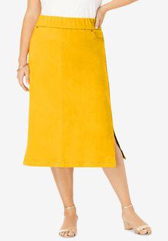 Comfort Waist Midi Skirt, SUNSET YELLOW