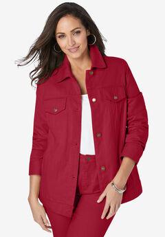 Classic Cotton Denim Jacket, CLASSIC RED