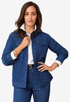 Classic Cotton Denim Jacket, DENIM HOUNDSTOOTH
