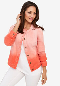 Collarless Denim Jacket, ELECTRIC ORANGE OMBRE