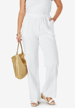 Lightweight Linen-Blend Wide-Leg Pants,