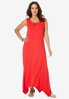 Keyhole Hanky Hem Maxi Dress,
