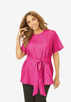 Tie-Front Tunic, TROPICAL RASPBERRY DOT