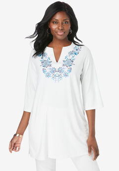 Embroidered Notch Neck Tunic,