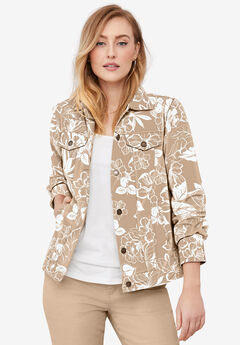 Classic Cotton Denim Jacket, NEW KHAKI TROPICAL GARDEN