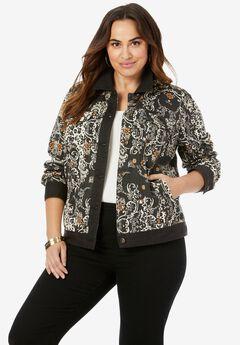 Classic Cotton Denim Jacket, BLACK MEDALLION LEOPARD