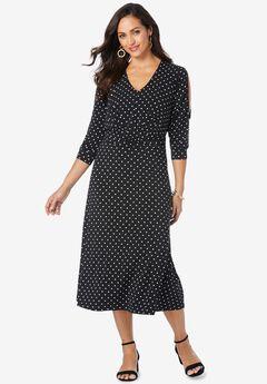 Slit Sleeve Midi Dress,
