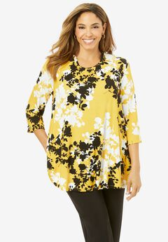 Swing Tunic, YELLOW GRAPHIC FLORAL