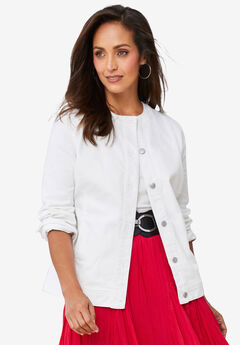 Collarless Denim Jacket, WHITE