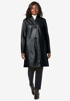 Leather Swing Coat, BLACK