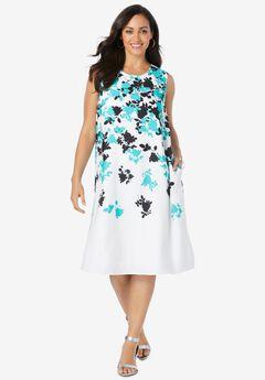 Back Pleat Dress, AQUA SEA FALLING GRAPHIC FLOWER