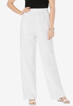 Lightweight Linen-Blend Straight-Leg Pants, WHITE
