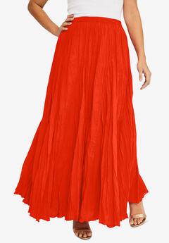 Flowing Crinkled Skirt, ELECTRIC ORANGE