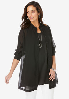 Georgette Button Front Tunic, BLACK