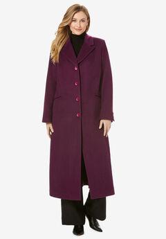 Full Length Wool Blend Coat, DARK BERRY