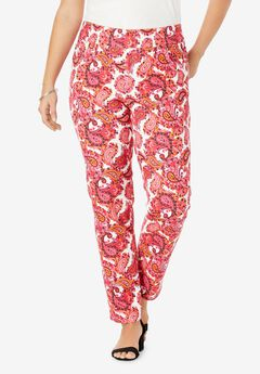 Comfort Waistband Jeans, PINK GRAPHIC PAISLEY