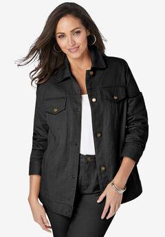 Classic Cotton Denim Jacket, BLACK
