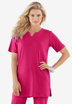 Notch-Neck Soft Knit Tunic,