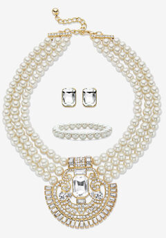 """Gold Tone Simulated Pearl Bib 17"""" Necklace Set with Emerald Cut Crystals,"""
