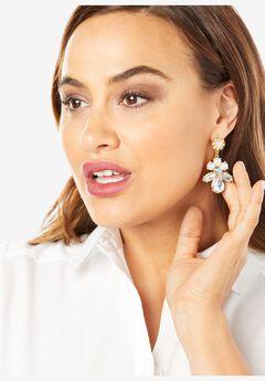Rhinestone & Pearl Flower Earrings,