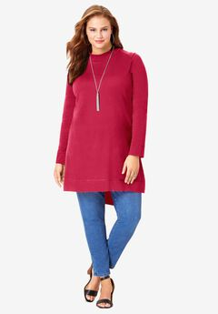 High-Low Mockneck Ultimate Tunic, CLASSIC RED