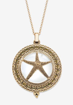 """Goldtone Antiqued Starfish Magnifier Pendant with 32"""" Chain,"""