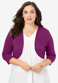 Bolero Cardigan with Three-Quarter Sleeves,