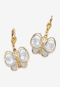 Yellow Gold-Plated Butterfly Two Tone Drop Earrings,