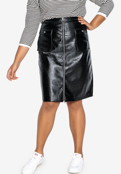 Patent Leather Zip-Front Skirt Castaluna ,