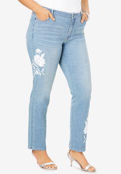 Floral Design Straight-Leg Jean ,