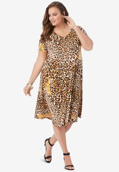 Ultrasmooth® V-Neck Swing Dress, NATURAL LEOPARD