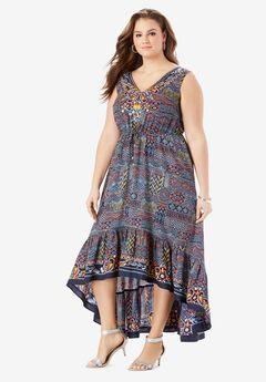 V-Neck Ruffled Hem Dress with High-Low Hem,