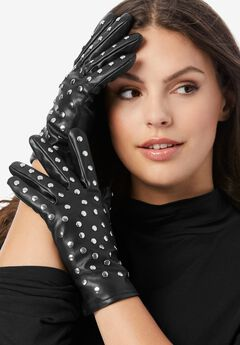 Studded Faux-Leather Gloves,