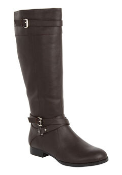 The Janis Wide Calf Leather Boot , DARK BROWN