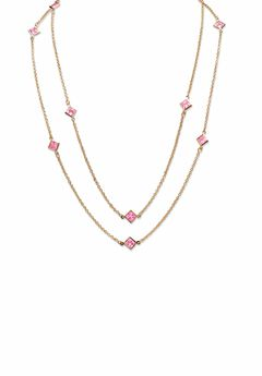 """Gold Tone Endless 48"""" Necklace with Princess Cut Birthstone,"""