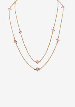 "Gold Tone Endless 48"" Necklace with Princess Cut Birthstone,"