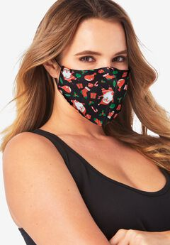 Women's Two-Layer Reusable Face Mask, HOLIDAY JOY