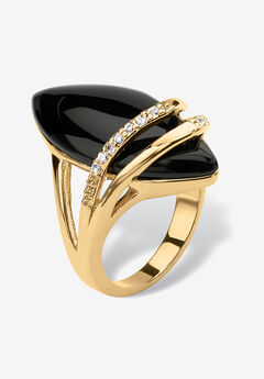 18K Gold Black Onyx & Cubic Zirconia Ring,