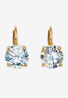 Cubic Zirconia Drop Earrings in Yellow Goldplate (13x8mm),