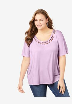 Braided Flutter-Sleeve Tee,
