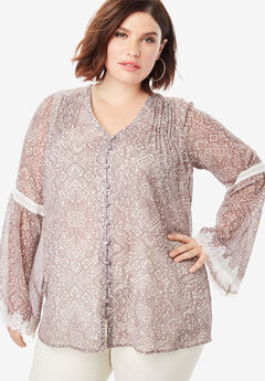 Chiffon Bell Sleeve Top with Lace,