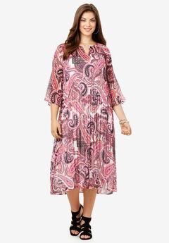 Pleated Midi Dress,