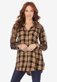 Lace Plaid Big Shirt,