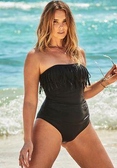 Fringe Bandeau One Piece Swimsuit,