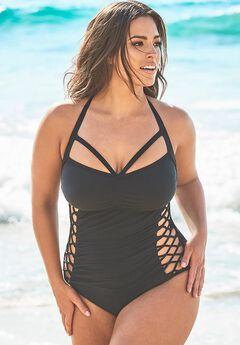 Ashley Graham Boss Underwire One Piece Swimsuit,