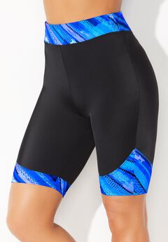 Chlorine Resistant Printed Swim Bike Short, BLUE BRUSHSTROKE